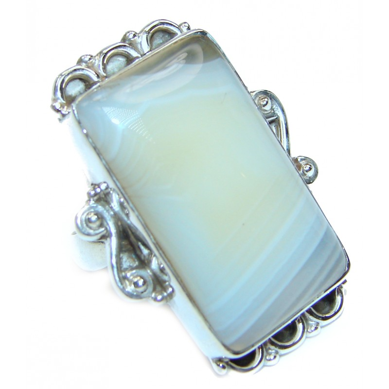 Huge Agate Sterling Silver Ring s. 8