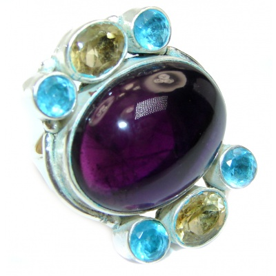 Majestic Authentic Amethyst .925 Sterling Silver handmade Ring s. 8