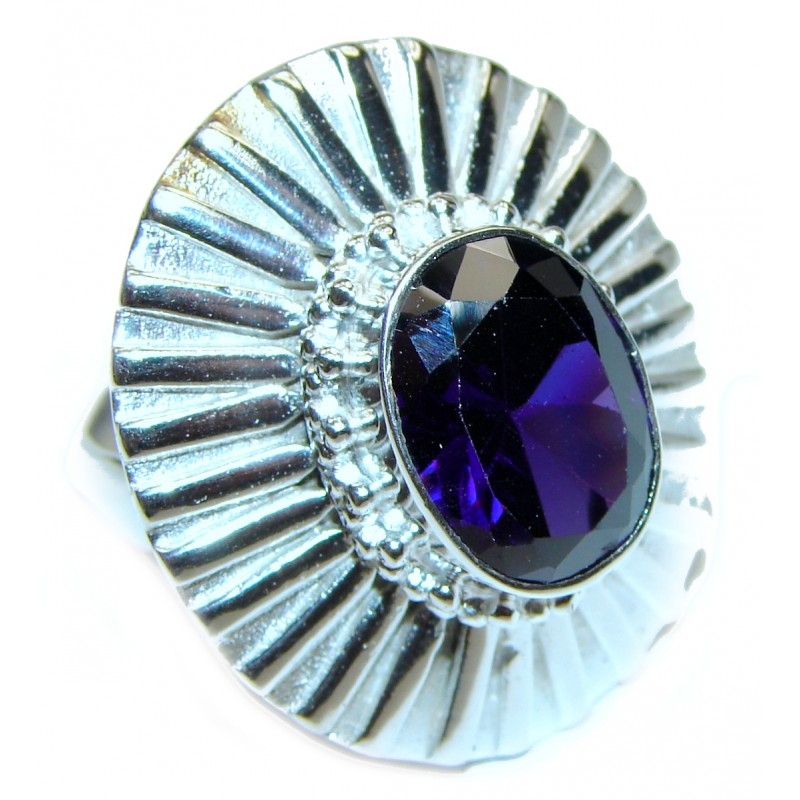 Huge Purple Quartz .925 Sterling Silver handcrafted Ring Size 9 1/2