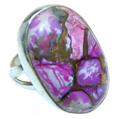 Purple Turquoise .925 Sterling Silver handcrafted ring; s. 7