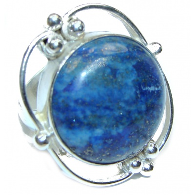 LARGE Natural Lapis Lazuli .925 Sterling Silver handcrafted ring size 7 1/4