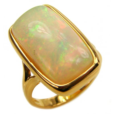 EVOLUTIONARY WONDER Genuine Ethiopian Opal 18K Gold over .925 Sterling Silver handmade Ring size 6 3/4