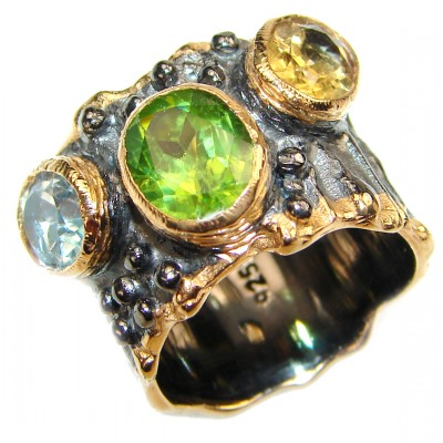 Energizing genuine Peridot Garnet black rhodium over .925 Sterling Silver handcrafted Ring size 5 3/4