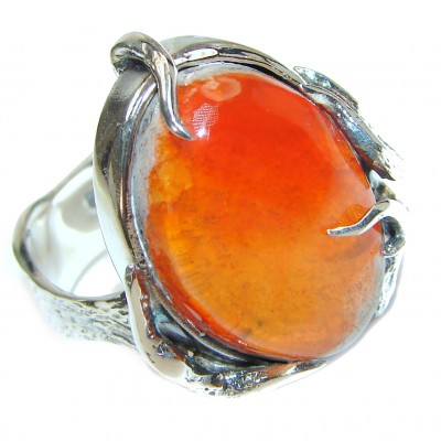 ELECTRIFIED Planet Mexican Opal .925 Sterling Silver handcrafted Ring size 9 1/4