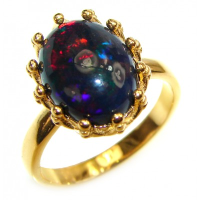 Vintage Design 2.5ctw Genuine Black Opal 18K Gold over .925 Sterling Silver handmade Ring size 7 3/4