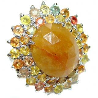 Large Genuine yellow Sapphire .925 Sterling Silver handcrafted Statement Ring size 8 3/4