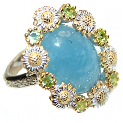 Huge Aquamarine Rhodium over .925 Sterling Silver handcrafted ring size 7 3/4