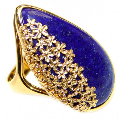 Natural Lapis Lazuli 14K Gold over .925 Sterling Silver handcrafted ring size 8 3/4