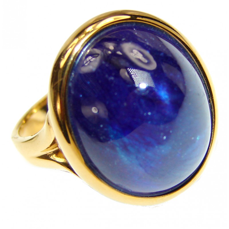 Genuine 26ct Sapphire 18K yellow Gold over .925 Sterling Silver handmade Cocktail Ring s. 7