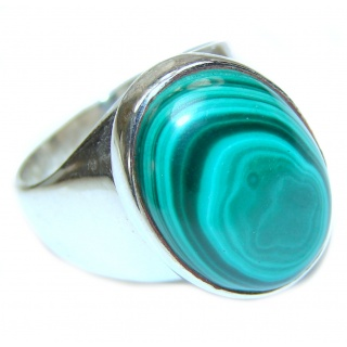 Natural Sublime quality Malachite .925 Sterling Silver handcrafted ring size 8 3/4