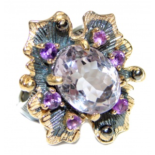 Victorian Style genuine Pink Amethyst .925 Sterling Silver handcrafted Ring size 7 1/4