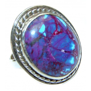 Purple Turquoise .925 Sterling Silver handcrafted ring; s. 7 1/2