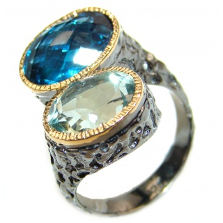 Best quality London Blue Topaz .925 Sterling Silver handcrafted Ring Size 7 1/2