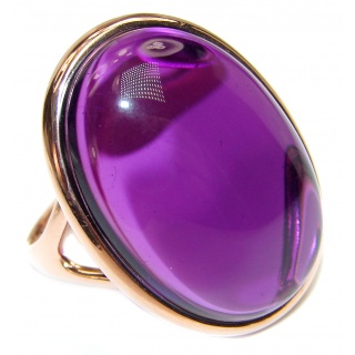 Authentic 65ctw Amethyst rose gold over .925 Sterling Silver brilliantly handcrafted ring s. 8 3/4