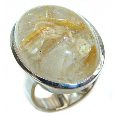 Best quality Golden Rutilated Quartz .925 Sterling Silver handcrafted Ring Size 6 1/4