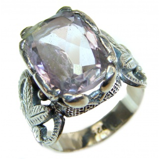 Vintage Style Pink Amethyst .925 Sterling Silver Ring s. 7