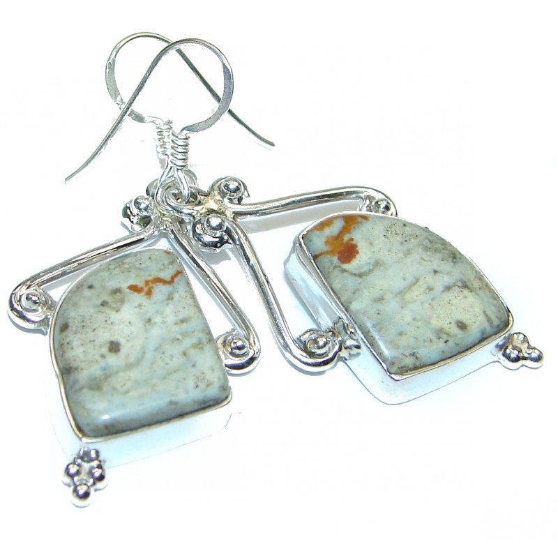 Solid Imperial Jasper .925 Sterling Silver earrings