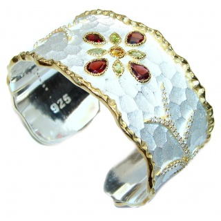 Bracelet with Garnet & Diamonds 24K gold and Silver in Antique White Patina