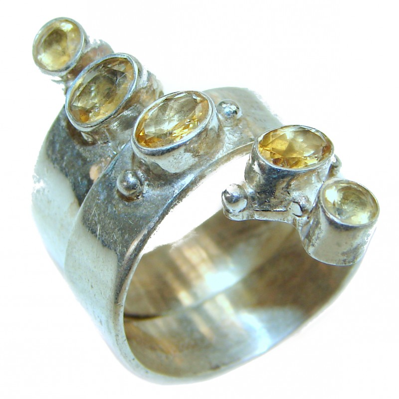 Yellow Reef Citrine .925 Sterling Silver Ring size 9