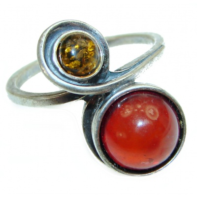 Amber .925 Sterling Silver handcrafted Ring s. 8