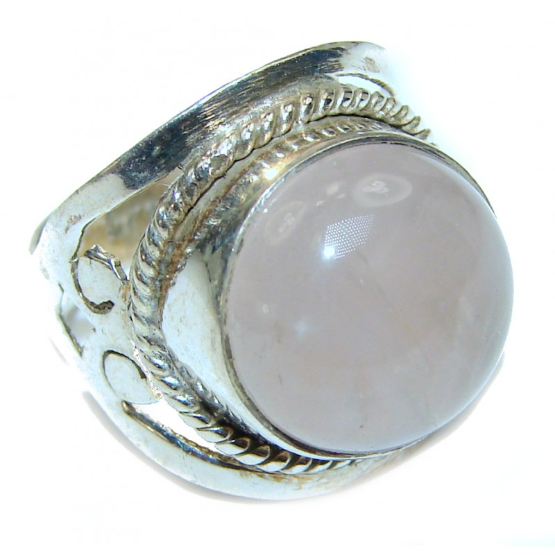 Luxurious Genuine Rose Quartz .925 Sterling Silver handcrafted Statement Ring size 6