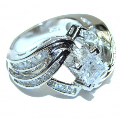Fancy White Topaz .925 Sterling Silver handmade Ring s. 6