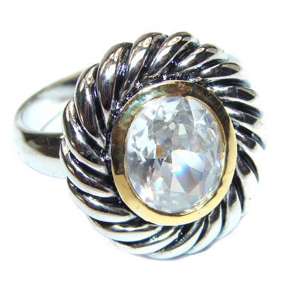 Fancy White Topaz .925 Sterling Silver handmade Ring s. 8 1/4