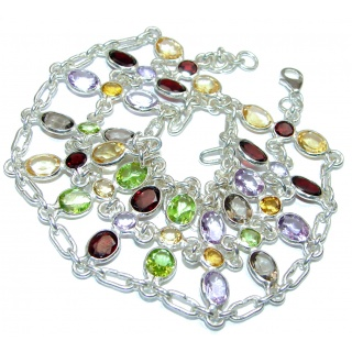 One of the kind genuine Multigem .925 Sterling Silver handcrafted Bracelet