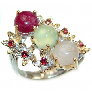 Sublime Authentic 41ctw Multigem .925 Sterling Silver brilliantly handcrafted ring s. 8 3/4
