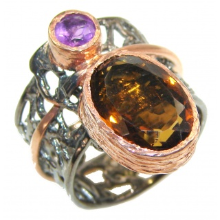 Very Bold Champagne Smoky Topaz 14K Gold over .925 Sterling Silver Ring size 8