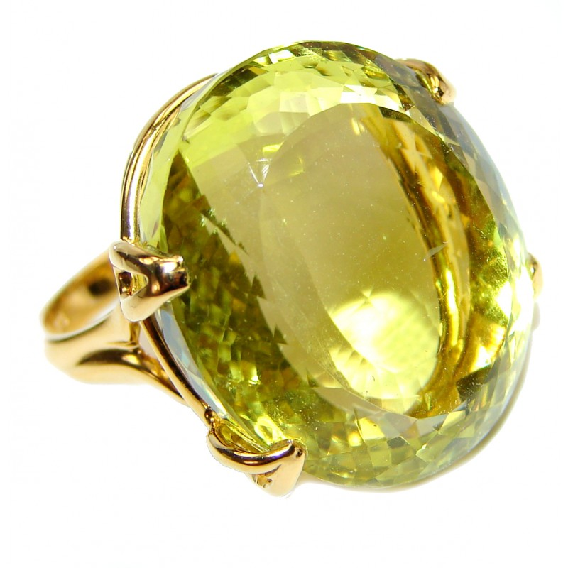 Royal Design 88ct Lemon Topaz 18K yellow Gold .925 Sterling Silver handmade ring size 8