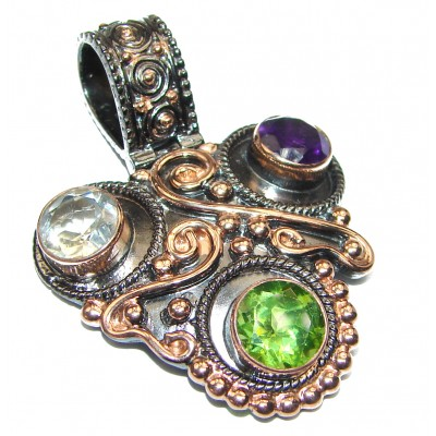 Vintage Design GENUINE Multigem .925 Sterling Silver handcrafted Pendant