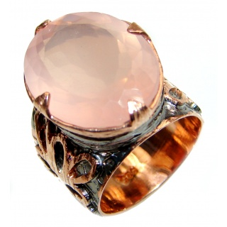 Luxurious Genuine Rose Quartz .925 Sterling Silver handcrafted Statement Ring size 7