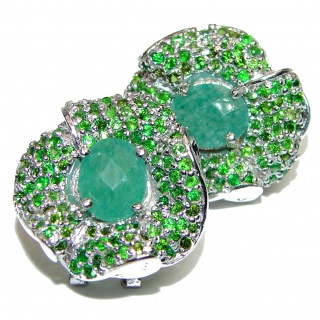 Incredible Authentic Emerald .925 Sterling Silver handmade Large statement earrings