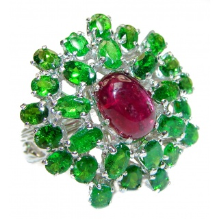 Perfect Flower 45 ctw Ruby Chrome Diopside .925 Sterling Silver handcrafted Statement Ring size 8 1/4