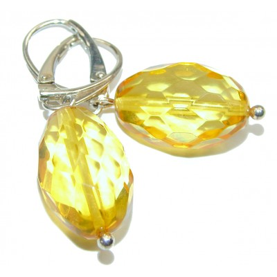 Her Majesty Genuine faceted Baltic Amber .925 Sterling Silver handcrafted Earrings