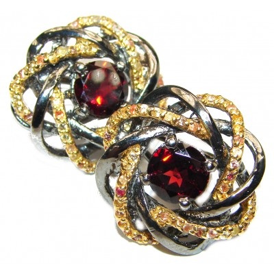 Fabulous multicolor Garnet black Rhodium over .925 Sterling Silver handcrafted stud earrings