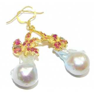 Precious Baroque Style genuine Mother of Pearl Emerald 24K Gold over .925 Sterling Silver earrings