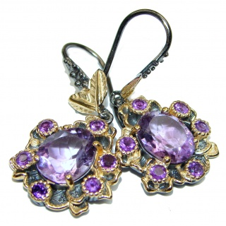 Nature Inspired Authentic Amethyst 14K Gold over .925 Sterling Silver handmade earrings