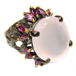 Pink Perfection Rose Quartz black rhodium over .925 Sterling Silver Ring size 8