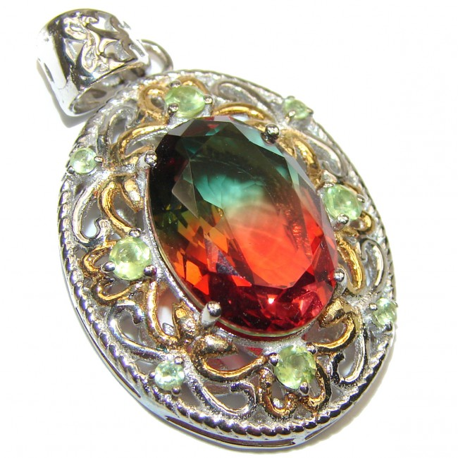 Deluxe oval cut Pink Tourmaline 14K Gold over .925 Sterling Silver handmade Pendant