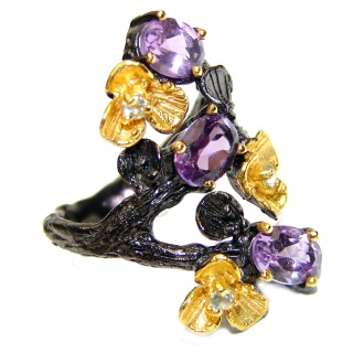 Purple Perfection Amethyst black rhodium over .925 Sterling Silver Ring size 6 1/2