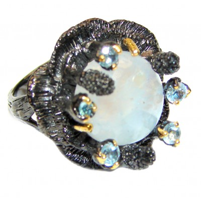 Summer Flower Fire Moonstone black rhodium over .925 Sterling Silver handmade ring s. 7 3/4