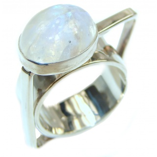 Angelica Rainbow Moonstone .925 Sterling Silver handmade Ring size 5 3/4