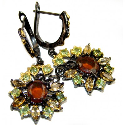Authentic Garnet Peridot Gold over .925 Sterling Silver handmade earrings