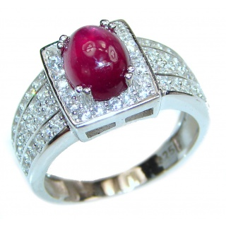 Genuine Ruby .925 Sterling Silver handcrafted Statement Large Ring size 7 1/4