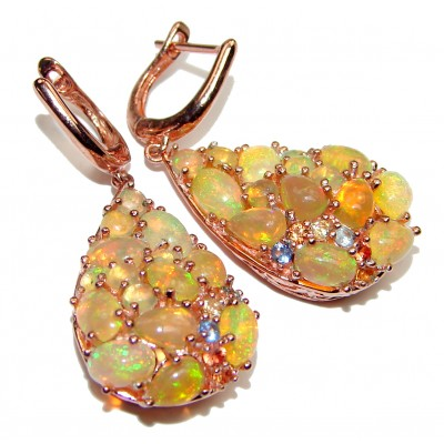 Authentic Ethiopian Fire Opal 18K Gold over .925 Sterling Silver handcrafted statement earrings