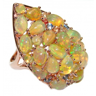 Gabriella Authentic Ethiopian Fire Opal .925 Sterling Silver brilliantly handcrafted ring s. 8 1/4