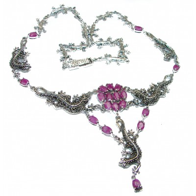 Lizards Genuine Ruby Marcasite .925 Sterling Silver handmade handcrafted Necklace