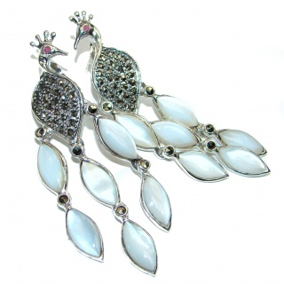 HUGE Bali Design Peacock Blister pearl .925 Sterling Silver handcrafted Earrings